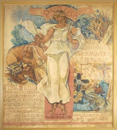 """Pax Vobis. La Paix soit avec vous... """"Monument aux morts"""" de Henri Marret, année 1920, gouache et pastel, mairie de Fourqueux. © Tous droits réservés."""